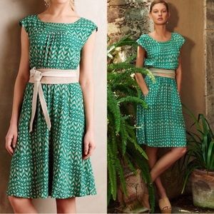 Anthro Maeve Evaline Chevron Green Dress